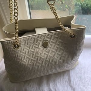 Anne Klein ivory satchel purse 15 by 11